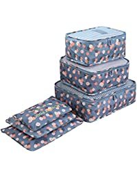Cokaka Travel Space Save Storage Organizers Bags 6pcs, Luggage Packing Organizers Waterproof Packing Cubes 3pcs + Pouches 3pcs