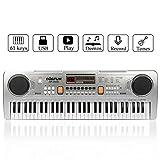 Piano numérique de clavier de musique, JINRUCHE 61 touches enfants Piano Portable Clavier électronique Instrument de musique Multifonction apprentissage précoce jouet éducatif (Argent)