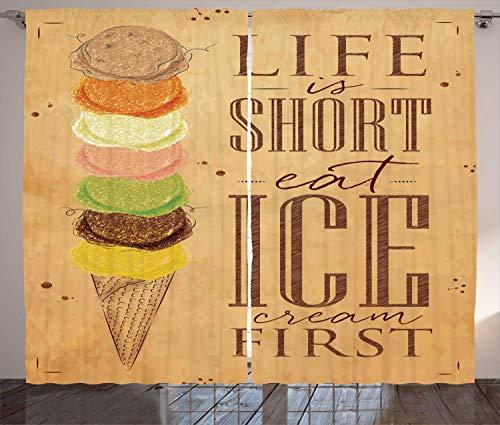 ABAKUHAUS Zitat Rustikaler Gardine, Essen Ice Cream Erste Scoops, Schlafzimmer Kräuselband Vorhang mit Schlaufen und Haken, 280 x 260 cm, Mehrfarbig -