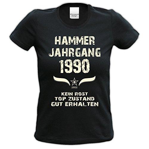 bequemes t Shirt Damen Girlie Motiv Hammer Jahrgang 1990 zum 26. Geburtstag Jahrgangs-T-Shirt Geschenk cooles Outfit Farbe: schwarz Gr: S