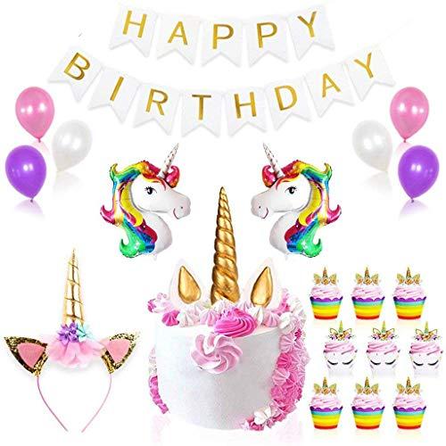 Einhorn Luftballons Deko,Tumao Happy Birthday Banner Latex Ballons , Einhorn Cupcake Toppers, Einhorn Kuchen Deko,für Geburtstag, Hochzeit, Baby Dusche, Parteien, Hauptdekorationen, Partei Dekoration. (Banner Geburtstag Kuchen-topper)