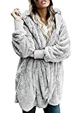 Shallgood Damen Mantel Plüschjacke Winter Winterjacke Steppjacke Warmen Outwear Cardigan Lange Ärmel Einfarbig Parka Sweatshirt Grau DE 36