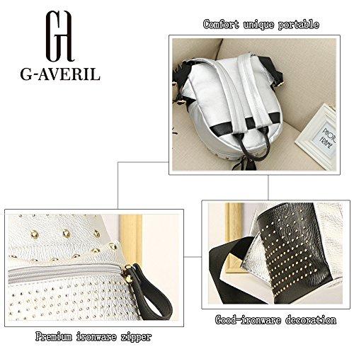 G-AVERIL GA1116-Q, Borsa a zainetto donna Argento Silvery Black