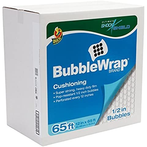 Duck Brand Bubble Wrap Shock Shield Cushioning with Dispenser Box, Extra Large Bubbles, 12 Inches x 65 Feet, Single Roll (862825) by Duck
