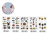 5 Hojas De Halloween Craft Sticker Surtido De Halloween Del Estilo Tatuajes Temporales Engomadas De Halloween Con La Calabaza Fantasma Etiquetas Engomadas Del Cráneo Para Los Suministros De Halloween