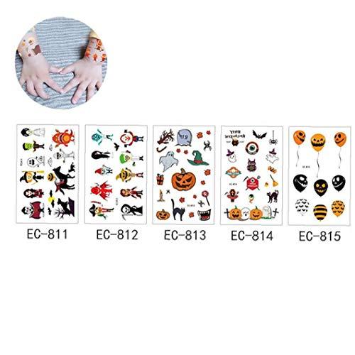5 Blatt Halloween Craft Aufkleber Sortiment Art-Halloween-Temporäre Tätowierungen Halloween-Aufkleber Mit Kürbis-Geist-Schädel-Aufkleber Für Halloween-Party-Faovrs Halloween Bastelbedarf