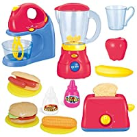 JOYIN Assorted Kitchen Appliance Toys with Mixer, Blender ,Toaster and Play Food Play Kitchen Accessories