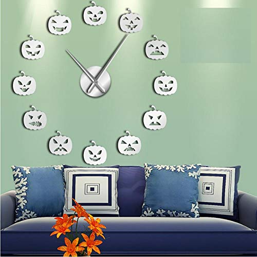 DIY WanduhrKürbis Emoji Lustige Wanduhr Halloween Kürbis Gesichter DIY Big Size Wanduhr Kürbis Emoticons Selbstklebende DIY 3D Wanduhr(47inch)