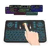 SUVER 2.4GHz RGB Hintergrundbeleuchtung Mini Wireless Keyboard mit Touchpad Maus, wiederaufladbare Wireless Remote Mini Tastatur für Android TV Box, HTPC, IPTV, Windows PC, Pad, Xbox 360, PS3, PS4 (Schwarz)