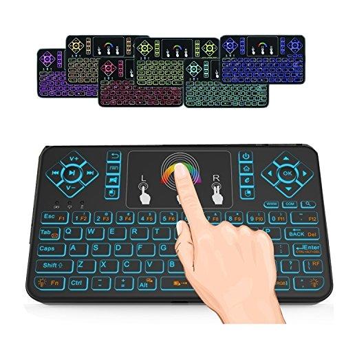 SUVER 2.4GHz RGB Hintergrundbeleuchtung Mini Wireless Keyboard mit Touchpad Maus, wiederaufladbare Wireless Remote Mini Tastatur für Android TV Box, HTPC, IPTV, Windows PC(Schwarz) -