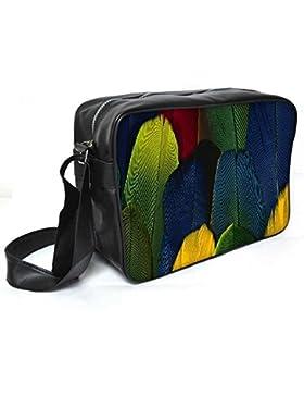 Snoogg Bunte Federn Leder Unisex Messenger Bag für College Schule täglichen Gebrauch Tasche Material PU