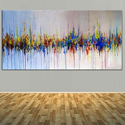Abstract Multi Color (ZXCVB ÖlgemäldeHand Painted Canvas Oil Painting Abstract Multi Color Turquoise Wall Picture Living Room Bedroom Hotel Home Wall Decor Art Gift,100X200CM)