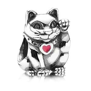 Pandora Damen-Charm 925 Sterling Silber Winkende Katze Emaille rosa 790989EN05
