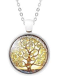 Klimisy - Lebensbaum Kette mit Anhänger nach Gustav Klimt - Baum des Lebens Amulett - elegante Halskette mit Medaillon aus Glas