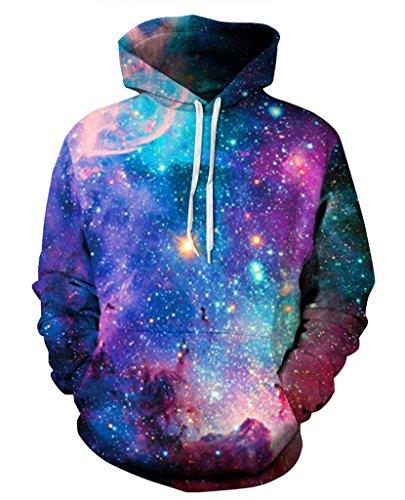 Pretty321 Women Girl Universe Blue Galaxy Stars Hoodie Sweatshirt w/ Pocket Unisex Amazon
