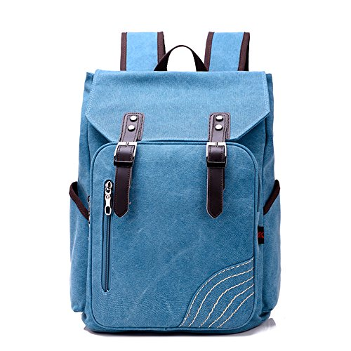 BYD - Uomo Unisex Large School Bag zainetto backpack Travel Bag Canvas Bag Borse a mano Borse a spalla with Mutil Function Pocket and Double PU Leather Strap Blu