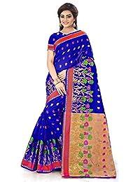 Royal Export Women's Blue Cotton Silk Saree