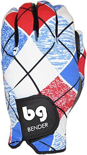 BG Spandex Golfhandschuhe für Herren, Rechtshänder, Golfzubehör (Tragen auf der linken Hand), Easy-Grip - BenderGloves, Plaid, Medium/Large -