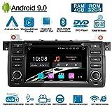 Ohok Android 9.0 Autoradio pour BMW 3 Series E46/M3 1 Din 8-Core Stéréo Unité de tête 4G+32G Sat Nav avec Lecteur DVD Supporte GPS Bluetooth CarPlay Android Auto WLAN OBD2 SWC,7' écran Tactile