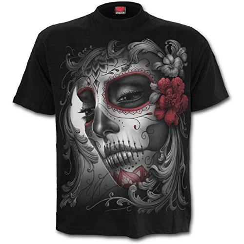 Camiseta para mujer diseño de calavera, color negro, de la marca Spiral negro negro