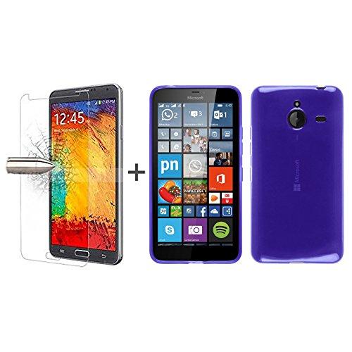 TBOC® Pack: Funda de Gel TPU Azul + Protector Pantalla Vidrio Templado para Nokia Microsoft Lumia 640 XL. Funda de Silicona Ultrafina y Flexible. Protector de pantalla Resistente a Golpes, Caídas y Arañazos.
