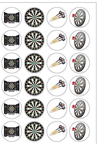 Essbare, runde Kuchendekoration im Darts-Design; 24 Stück; vorgeschnitten