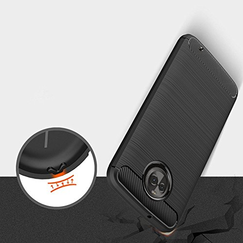 REALIKE® MOTO X4 Back Cover, Flexible Carbon Fibre Design Light Weight Shockproof Back Cover For Motorola Moto X4