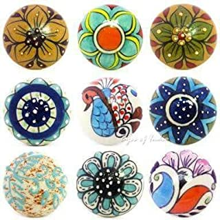 Artncraft 10 Pieces Set Dotted Ceramic Cabinet Colorful Knobs Furniture Handle Drawer Pulls Peacock design
