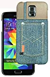 Heartly Jeans Style Printed Design High Quality Hard Bumper Back Case Cover For Samsung Galaxy S5 i9600 - 2 Button Pocket
