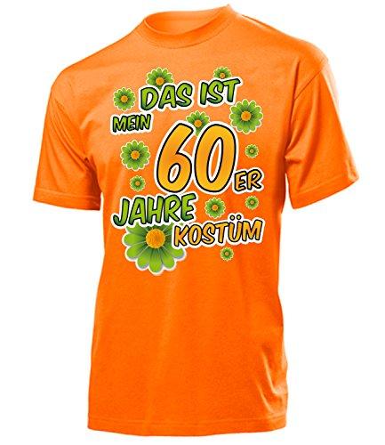 (Das ist Mein 60er Jahre Kostüm Herren T-Shirt Mottoparty Schlagerparty 791 Karneval Fasching Faschingskostüm Karnevalskostüm Erwachsene Orange XXL)
