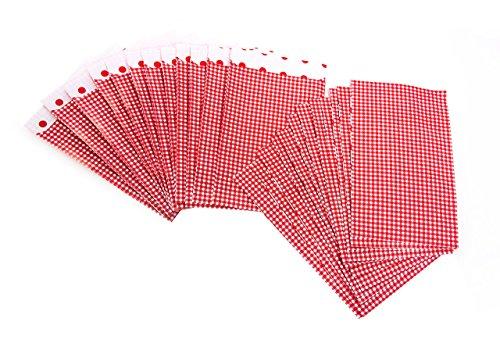 karierte Mini-Papiertüten Tütchen; 13 x 18 cm, innen gepunktet, 1a Qualität als Geschenktüten, Weihnachtstüten, weihnachtliche Verpackung für Kleinteile, Produkte, give-aways (Rotes Und Weißes Geschenkpapier)