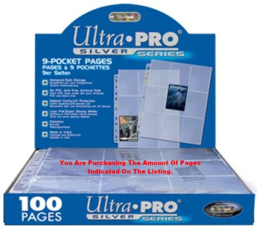 Preisvergleich Produktbild Trading Card A4-Hüllen, 100, Ultra Pro silber Silver Serie 9-fach MTG Seiten Pokemon /.