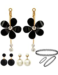 Jewels Galaxy Trendy Black And White Floral And Ball Shaped Earrings Combo With Stretchable Necklace, Bracelet...