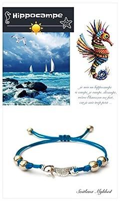 Bracelet style marin HIPPOCAMPE. CHEVAL DE MER. MARIN. OCÉAN. POISSON; Perles tibétaines. Cordon satin couleurs aux choix ; création sur mesure Handmade