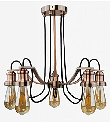 Searchlight Maddox 5 Ceiling Chandelier Light Antique Copper Black Cables 1065-5CU (Lamps Not Incl) from Searchlight