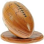 Rugby Ball 3D Puzzle en bois + keyring gratuit - Nouveauté d'amusement de Noël et cadeau d'anniversaire: Idée teaser de cerveau cadeau: Jigsaw: Ornement: Cadeaux pour les enfants, les hommes, les garçons, les fans de rugby