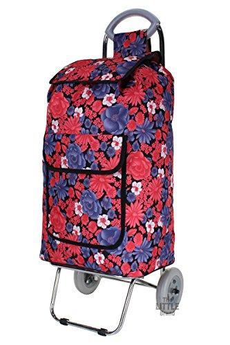 folding-shopping-trolley-chrome-steel-frame-wheeled-shopping-cart-grocery-bag-purple-flower-print