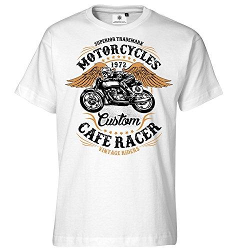Bedrucktes Herren Biker Motorrad T-Shirt Vintage Riders Weiß