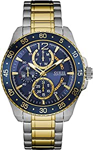 Guess Jet Navy Dial Silver-Gold Strap Multifunctional Mens Watch - W0797G1