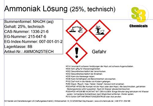 Ammoniak Lösung (25{cfebe3d90b9f63bf3220ec3eef2cbf31f561b9b299cba517a70500ca4eb7e32e}, technisch) Gebindegröße 5 Liter