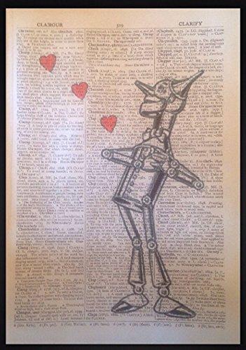 Wizard of Oz Vintage Wörterbuch Buch Seite Print Art Wand Bild Tin Man Love (Herz Zauberer Der Von Oz)