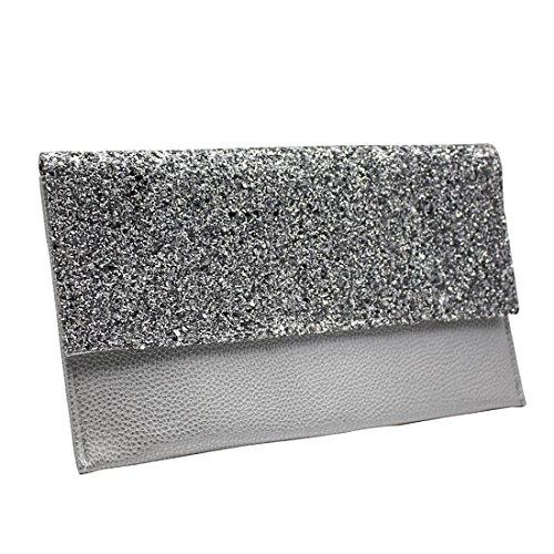 YYW Leather Clutch Bag, Poschette giorno donna Silver