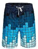 APTRO Herren Shorts Freizeit Casual Mode Urlaub Strandshorts Sommerhose Jun Blau Kariert M