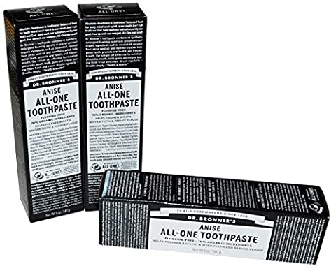 Dr Bronner's Anise All-One Toothpaste, 5 oz, Pack of 3 by Dr. Bronner's