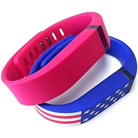 Small 1 Rose 1 American Flag Band for Fitbit FLEX Only With Clasps Replacement /No tracker/