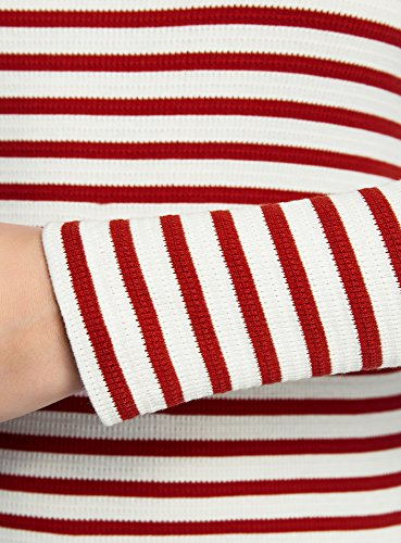 oodji Ultra Damen Langarm- Gestreiftes T-Shirt Rot (1245S)