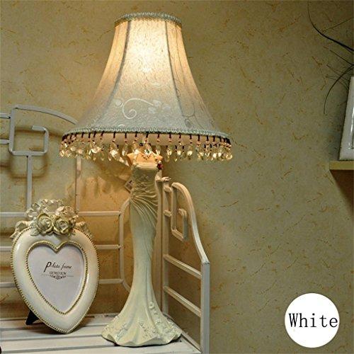 Uncle Sam LI Creative salon chambre chambre résine de style européen de jardin rose chevet lampe de table lampe de robe (couleur : Blanc)