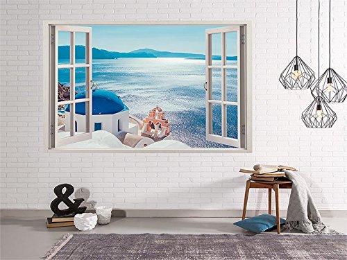 Oedim Vinilo Ventana Vistas al Mar Desde Grecia   150x130cm   Adhesivo Incluido   Decoracion Habitación   Pegatina Adhesiva   Multicolor   Diseño Profesional