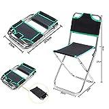 elecfan Klappstuhl Camping Multifunktions, Leichte Tragbare Klappstuhl mit Rückenlehne Aluminiumlegierung Oxford Tuch für Camping Angeln Wandern Picknickgerät - Grün
