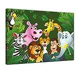 Bilderdepot24 Kunstdruck - Kinderbild Dschungeltiere Cartoon IV - Bild auf Leinwand - 80x60 cm einteilig - Leinwandbilder - Bilder als Leinwanddruck - Wandbild